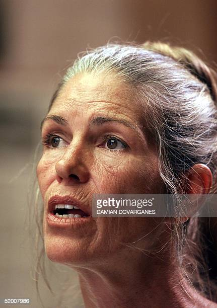 Leslie Van Houten a former follower of Charles Manson listens as former Deputy District Attorney Stephen Kay describes the 1969 killing scene of the...