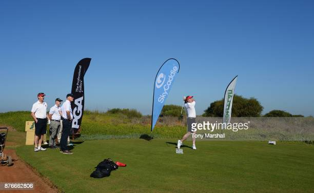 Leslie Walker of Dundalk Golf Club plays his first shot on the 1st tee during the Practice Round of the SkyCaddie PGA ProCaptain Challenge Grand...