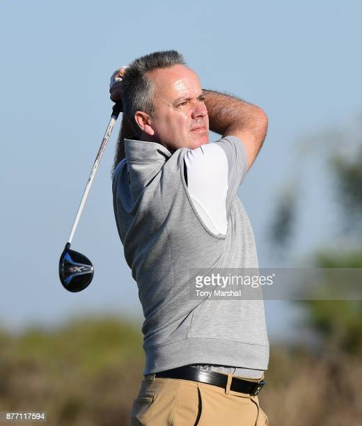Leslie Walker of Dundalk Golf Club plays his first shot on the 1st tee during Day One of the SkyCaddie PGA ProCaptain Challenge Grand Final at...