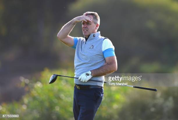 Leslie Walker of Dundalk Golf Club plays his first shot on the 6th tee during Day Two of the SkyCaddie PGA ProCaptain Challenge Grand Final at...