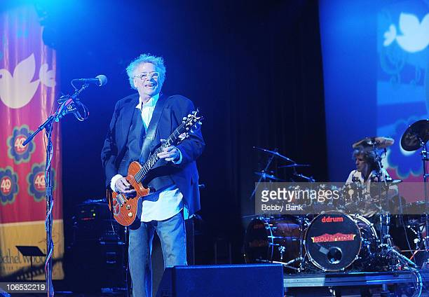 Leslie West and Corky Laing of Mountain perform at the Heroes of Woodstock Tour on the 40th anniversary of Woodstock at the Bethel Woods Art Center...