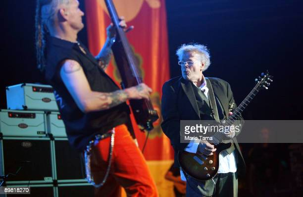 Leslie West and Rev Jones of Mountain perform at the concert marking the 40th anniversary of the Woodstock music festival August 15 2009 in Bethel...