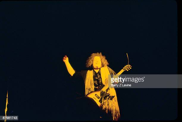 Leslie West guitarist for the hard rock act 'Mountain' performs onstage at the Woodstock Music and Arts Fair in Bethel New York August 15 17 1969
