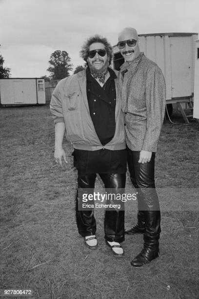 Leslie West of Mountain and Bob Kulick backstage at Knebworth Park Hertfordshire United Kingdom 1985