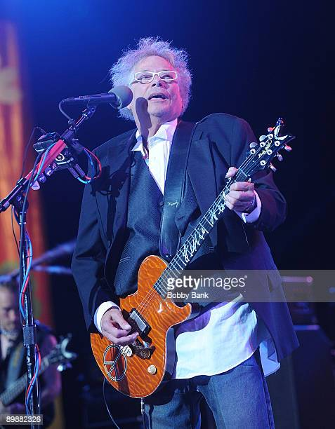 Leslie West of Mountain performing at the Heros of Woodstock Tour on the 40th anniversary of Woodstock at the Bethel Woods Art Center on August 15...