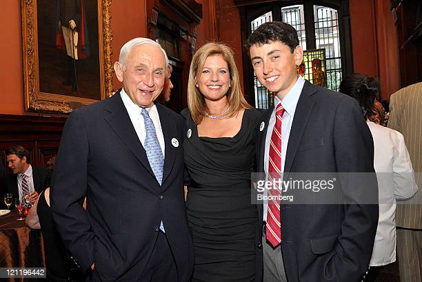 Leslie Wexner chairman and chief executive officer Ltd Brands Inc left stands for a photograph with his wife Abigail Wexner and son Harry Wexner...