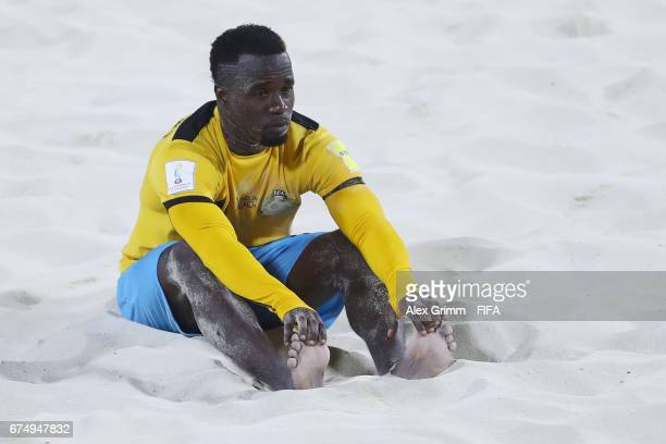 Lesly St Fleur of Bahamas reacts after the FIFA Beach Soccer World Cup Bahamas 2017 group A match between Senegal and Bahamas at National Beach...