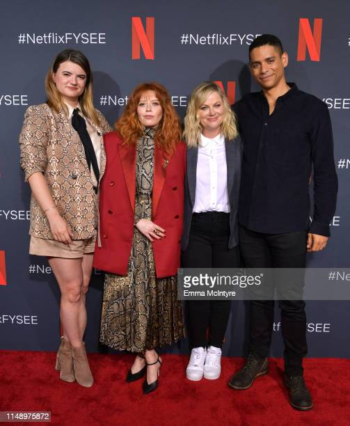 """Leslye Headland, Natasha Lyonne, Amy Poehler and Charlie Barnett attend the Netflix """"Russian Doll"""" FYSEE Event at Raleigh Studios on June 09, 2019 in..."""