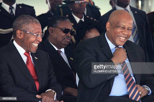 Lesotho Prime Minister Pakalitha Mosisili laughs with King Letsie III of Lesotho on March 17, 2015 during his inauguration ceremony in Maseru. AFP...