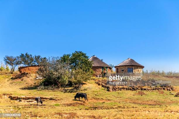 casas rurales de lesotho en la cordillera de maluti - lesoto fotografías e imágenes de stock
