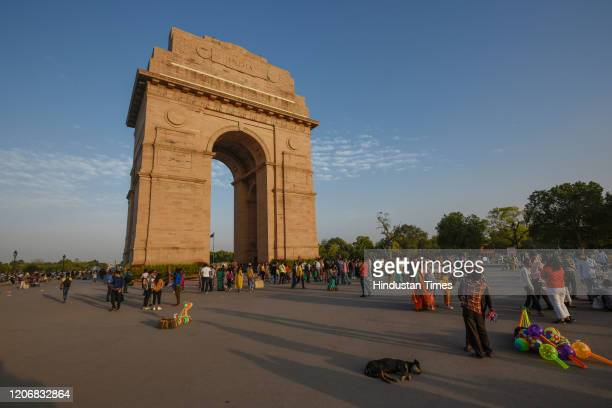 A less crowded view of India Gate monument as India suspended all tourist visas until April 15 in the wake of the Coronavirus threat on March 12 2020...