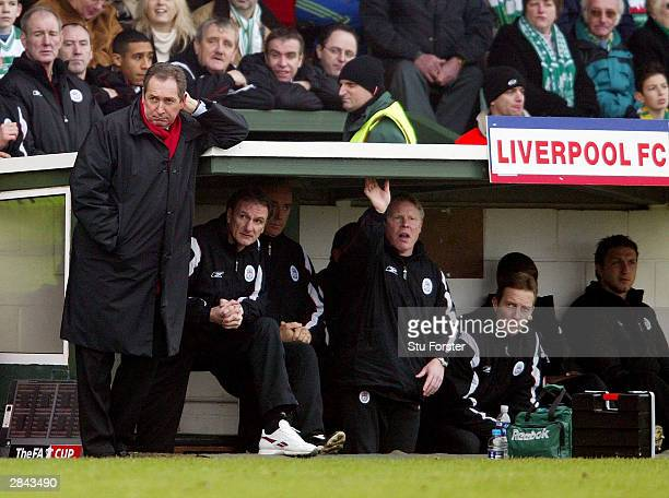A less than impressed Liverpool manager Gerard Houllier watches his side struggle to a two nil win during the FA Cup third round match between Yeovil...