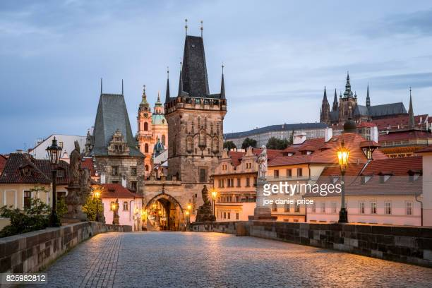 lesser town bridge tower-malostranská mostecká věž, prague, czechia - charles bridge stock photos and pictures