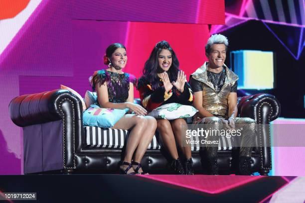 Lesslie Yadid Velazquez Espinoza Ana Karen Velazquez Espinoza and Rafael Velazquez Espinoza of Los Polinesios speak on stage during the Nickelodeon...