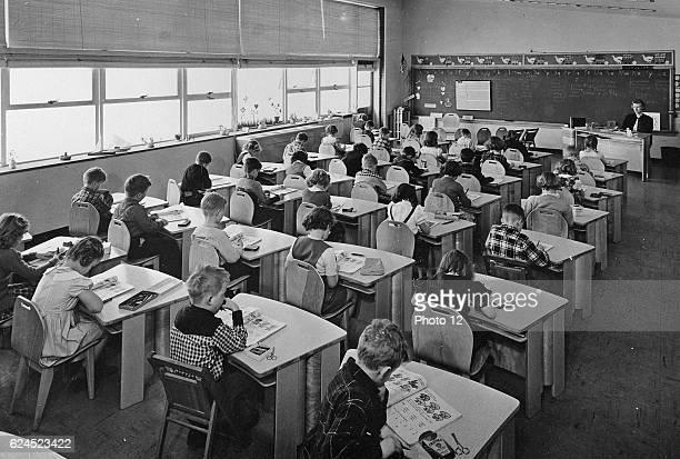 Lesson in a racially segregated class of white American school children. Circa 1967.