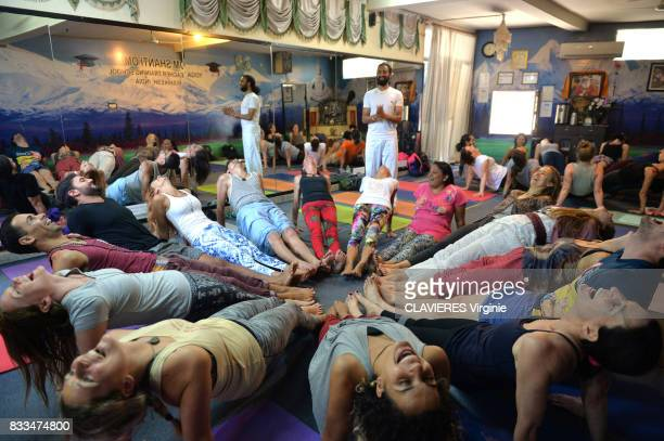 Lesson of yoga in the ashram Om Shanti Om on march 302017 in Rishikesh India