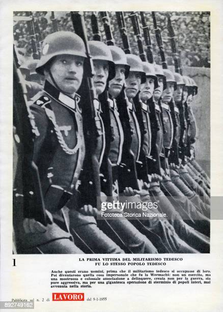 'Lest we forget' page 1 a parade of Nazi soldiers with title 'The first victim of German militarism was the same German people' Pamphlet created by...