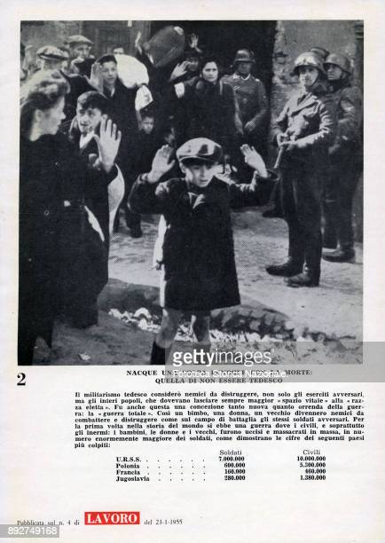 'Lest we forget' page 2 civilians with their hands up in front of armed soldiers Pamphlet created by Ando Gilardi attached to the Italian periodic...