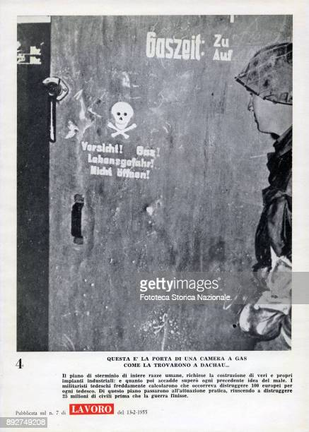 'Lest we forget' page 4 a soldier in front of the entrance of a gas chamber at Dachau concentration camp Pamphlet created by Ando Gilardi attached to...
