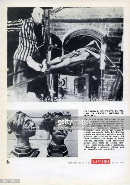'Lest we forget' page 6 a prisoner forced to cooperate introducing a corpse in the crematorium Pamphlet created by Ando Gilardi attached to the...