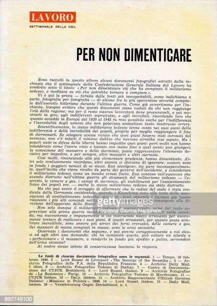 'Lest we forget' the introduction of the pamphlet created by Ando Gilardi attached to the Italian periodic 'Lavoro' It was the first time in Italy...