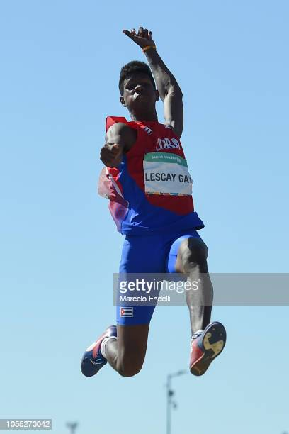 Lester Alcides Lescay Gay of Cuba in the Men's Long Jump Stage 2 during day 9 of the Buenos Aires Youth Olympics Games at Youth Olympic Park Villa...