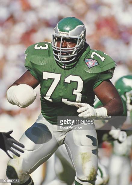 Lester Holmes Guard for the Philadelphia Eagles with his arm in a plaster cast during the National Football Conference East game against the...