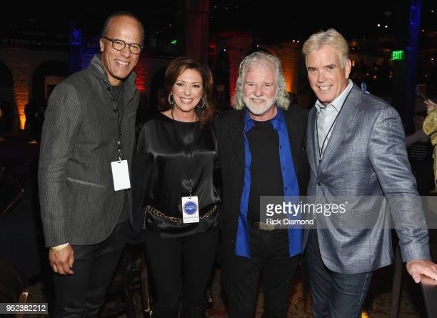 L/R Lester Holt NBC Nightly News/Dateline Kyra Phillips CNN Anchor Host/Rolling Stones Keyboardist Chuck Leavell and John Roberts Fox News White...