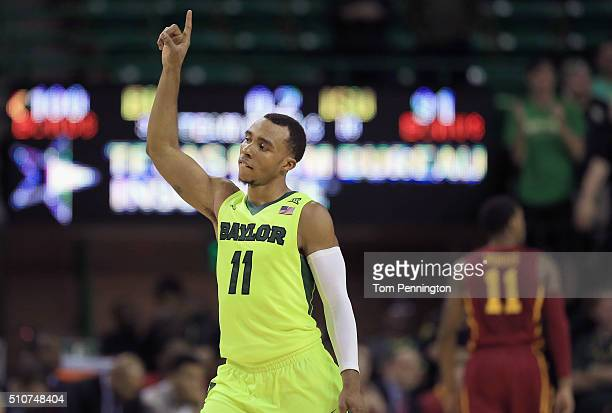 Lester Medford of the Baylor Bears celebrates an overtime win 10091 over Iowa State Cyclones at Ferrell Center on February 16 2016 in Waco Texas