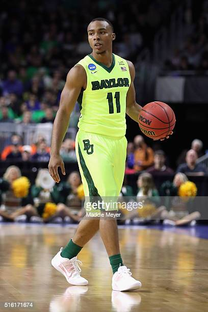 Lester Medford of the Baylor Bears handles the ball in the first half against the Yale Bulldogs during the first round of the 2016 NCAA Men's...