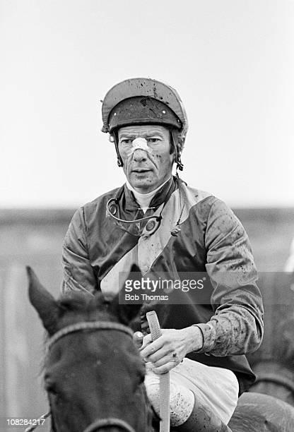 Lester Piggott riding at Leicester racecourse circa October 1980