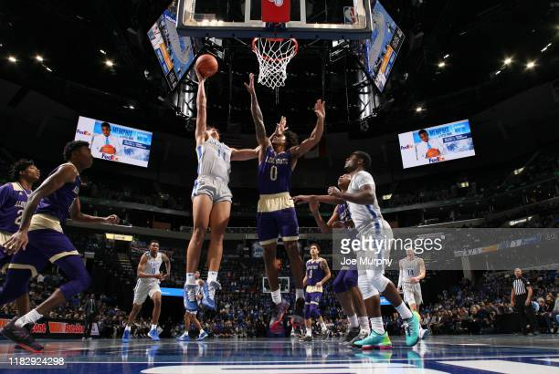 Lester Quinones of the Memphis Tigers drives to the basket against Troymain Crosby of the Alcorn State Braves during a game on November 16, 2019 at...