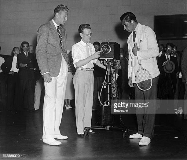 Lester Stoefen of Los Angeles and Frank Shields of New York US Davis Cup stars pictured as they appeared at the Franklin Institute in Philadelphia to...