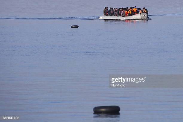 Lesvos island Greece in November 2015 Refugees continue to arrive every day Although the remaining when they are saved are floating on the water the...