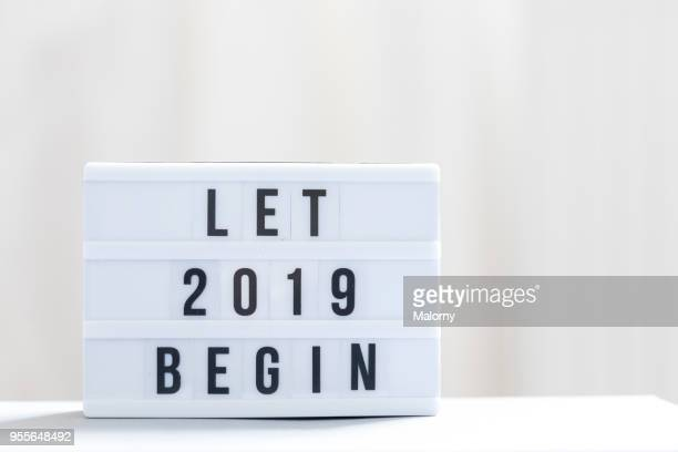 let 2019 begin: happy new year sign. - 2019 stock pictures, royalty-free photos & images