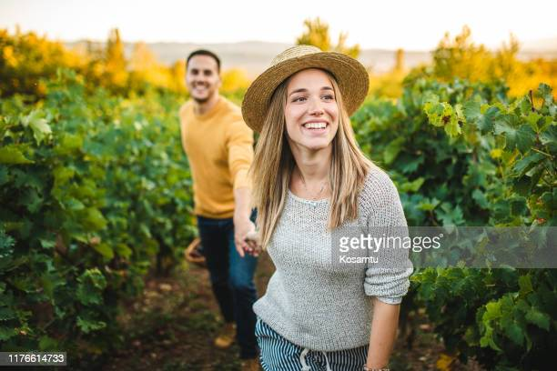 let me lead you through vineyard - weinberg stock-fotos und bilder