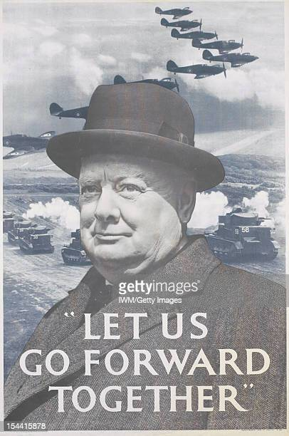 Let US Go Forward Together' A shoulderlength depiction of Sir Winston Churchill occupies the foreground In the background several British tanks...