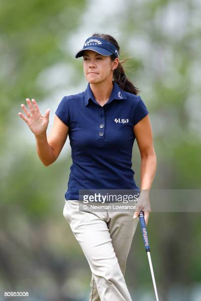 Leta Lindley acknowledges the crowd after making a putt on the 9th hole during the first round of the SemGroup Championship presented by John Q...