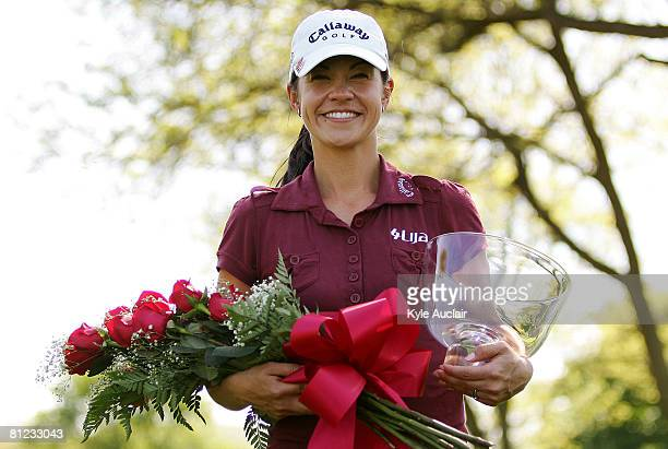 Leta Lindley poses with her trophy and flowers during the final round of the LPGA Corning Classic at Corning Country Club on May 25 2008 in Corning NY