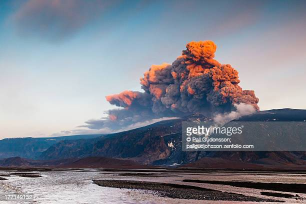 lethal beauty - eyjafjallajökull eruption iii - volcano stock photos and pictures