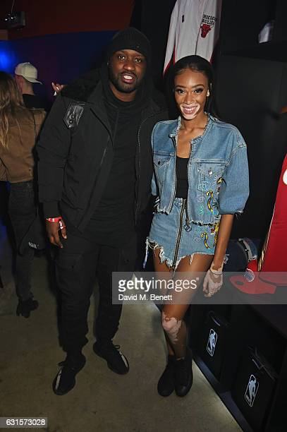 Lethal Bizzle and Winnie Harlow attend the NBA Global Game London 2017 after party at The O2 Arena on January 12 2017 in London England