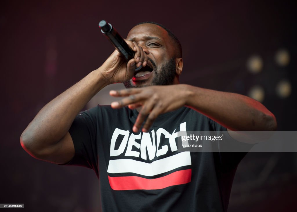 Lethal Bizzle performs on the Main stage at Kendal Calling Festival at Lowther Deer Park on July 30, 2017 in Kendal, England.
