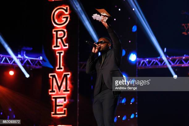 Lethal Bizzle speaks on stage at the MOBO Awards at First Direct Arena Leeds on November 29 2017 in Leeds England
