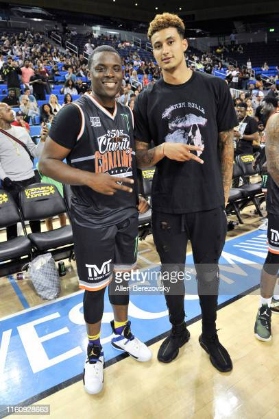 Lethal Shooter and Kyle Kuzma attend the Monster Energy $50K Charity Challenge Celebrity Basketball Game at UCLA's Pauley Pavilion on July 08 2019 in...