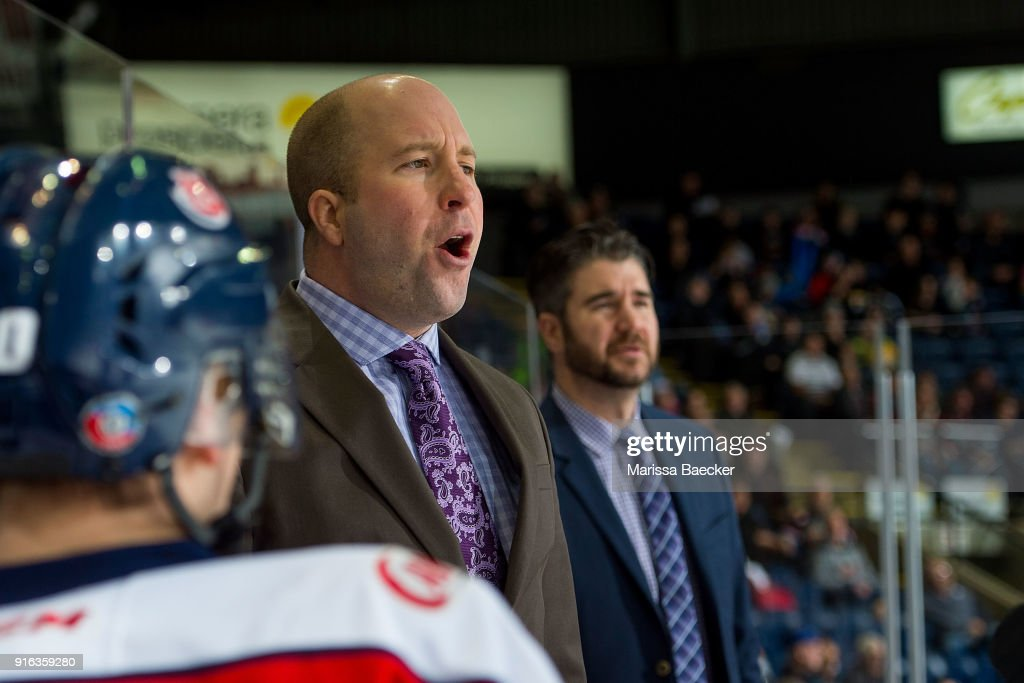 Lethbridge Hurricanes' head coach Brent Kisio yells from the bench against the Kelowna Rockets at Prospera Place on January 17, 2018 in Kelowna, Canada.