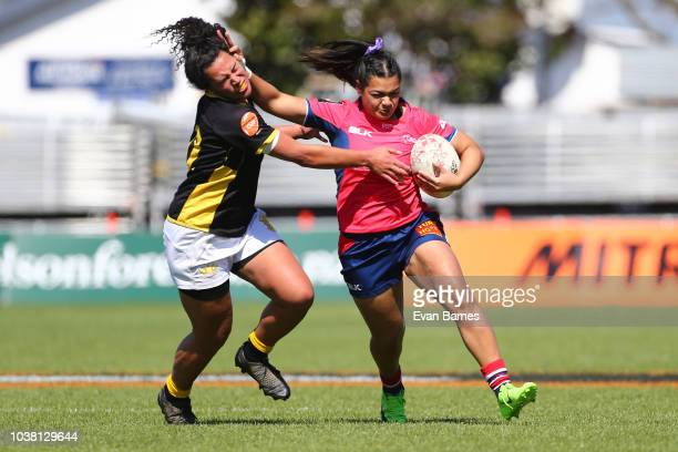 Sinead To'alaRyder heads for the try line during the round four Farah Palmer Cup match between Tasman and Wellington on September 23 2018 in Nelson...