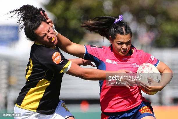 Gina Healey is tackled during the round four Farah Palmer Cup match between Tasman and Wellington on September 23 2018 in Nelson New Zealand