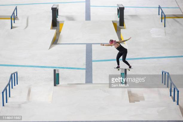 Leticia Bufoni Brazil during the womens final of the Street League Skateboarding World Tour Event at Queen Elizabeth Olympic Park on 26th May 2019 in...