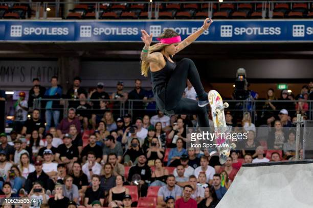 Leticia Bufoni of Brazil competes in the Skateboarding street womens final at The XGames at Spotless Stadium in Sydney on October 19 2018