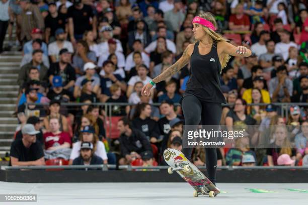 Leticia Bufoni of Brazil competes in the womens street Skateboarding final at The XGames at Spotless Stadium in Sydney on October 19 2018